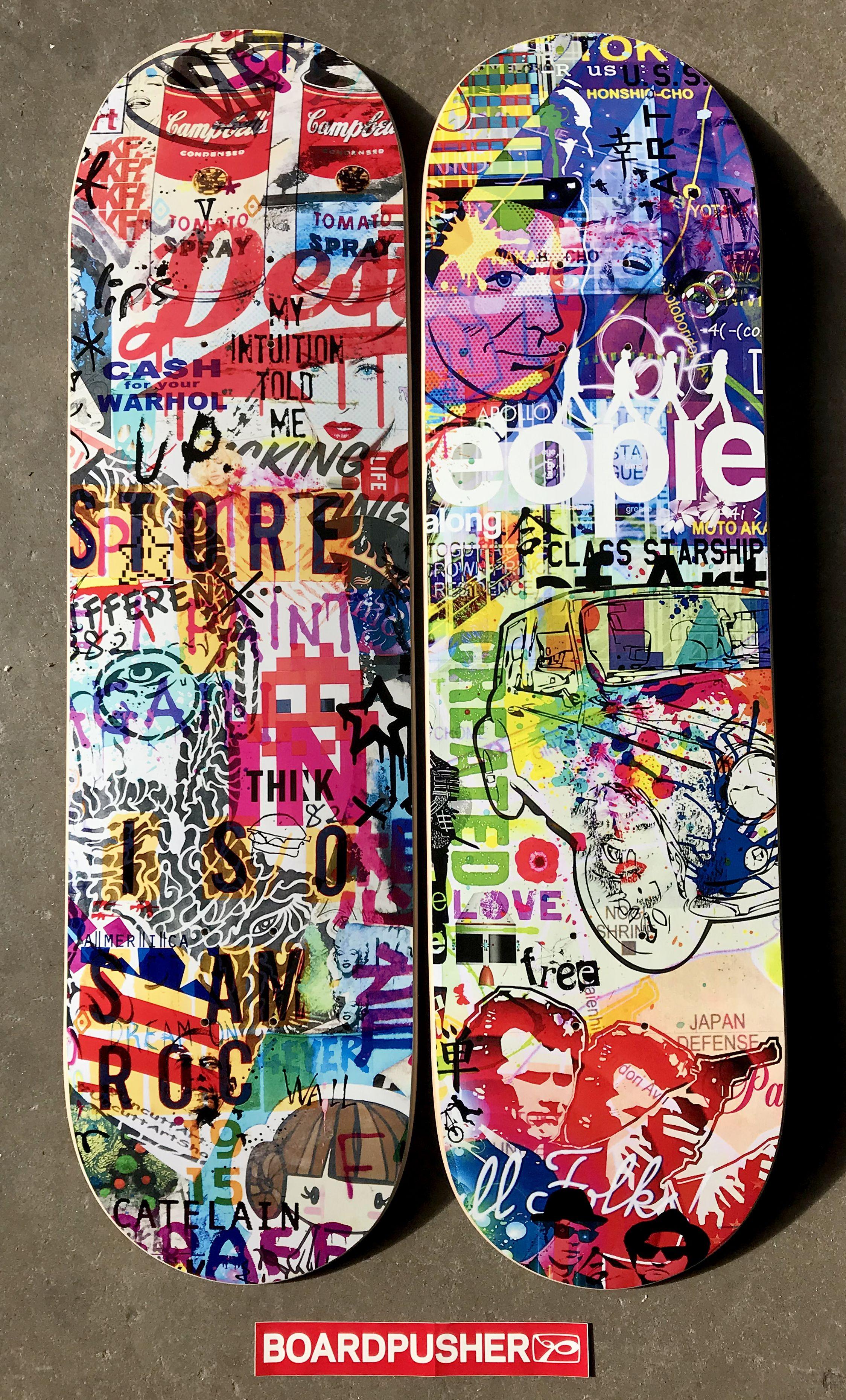 Street Art Inspired Custom Skateboard Graphics By Christophe Catelain For Today S Boardpusher Com Featured Decks Click The I Skateboard Art Skateboard Deck Art