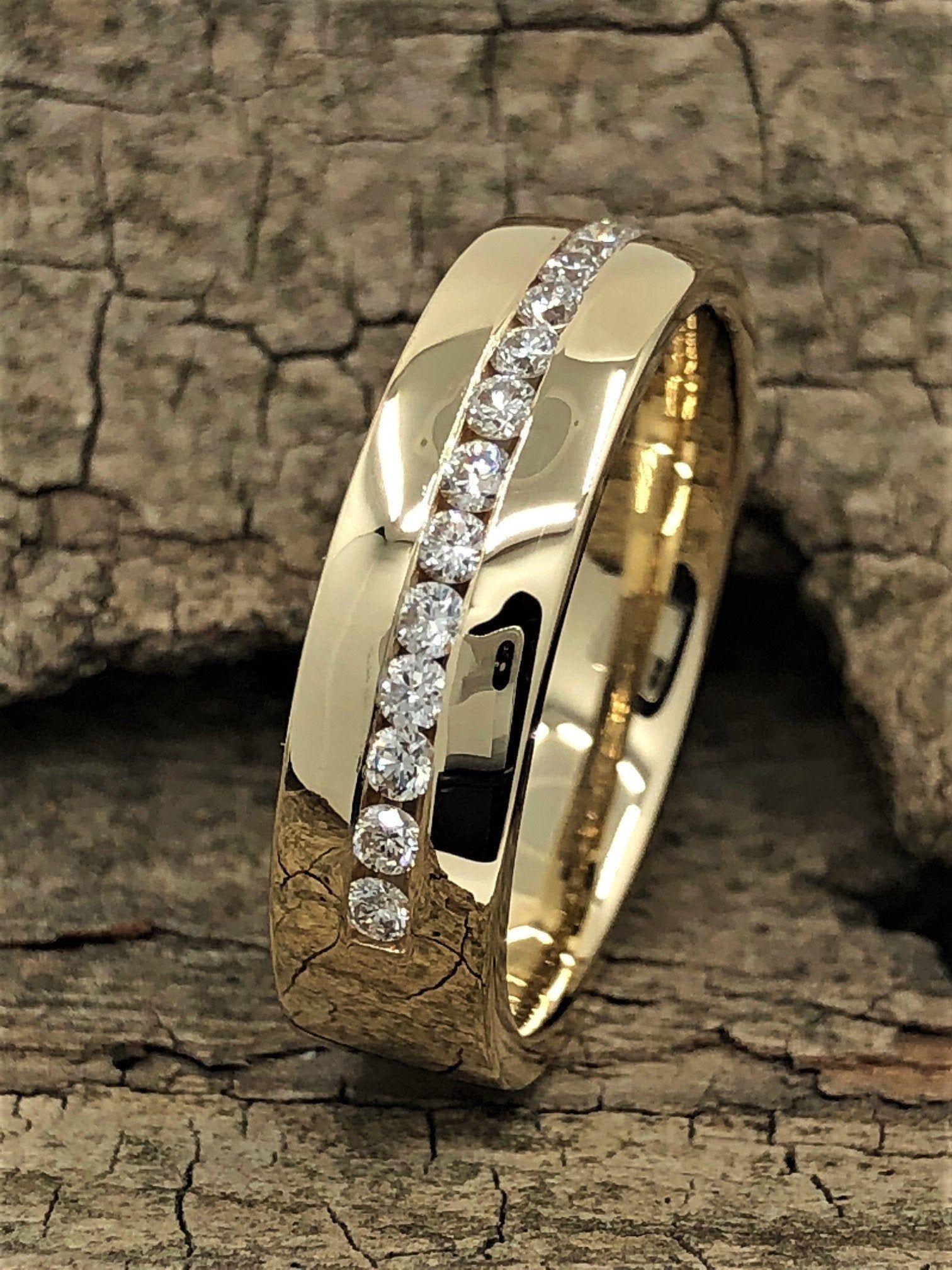 Men S Wedding Band 6mm Men S Diamonds Wedding Band Etsy In 2020 Mens Diamond Wedding Bands Mens Gold Wedding Band Mens Wedding Bands