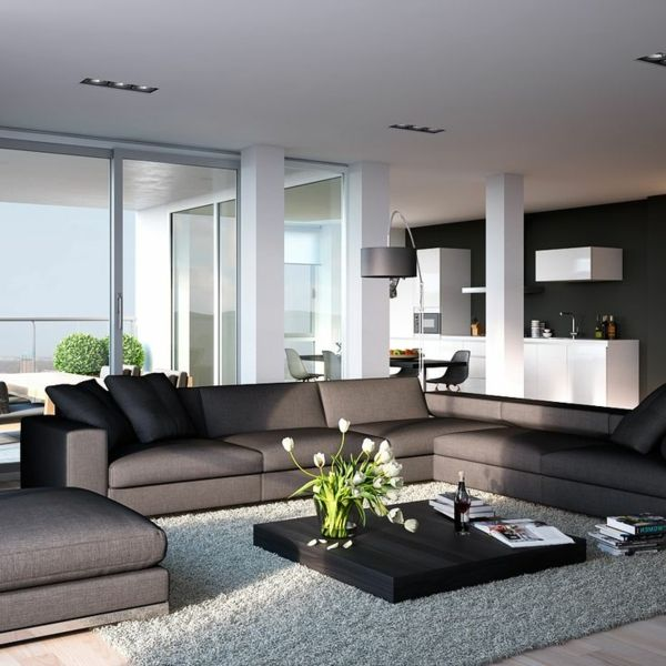 elegante wohnzimmer design weicher hellgrauer teppich. Black Bedroom Furniture Sets. Home Design Ideas
