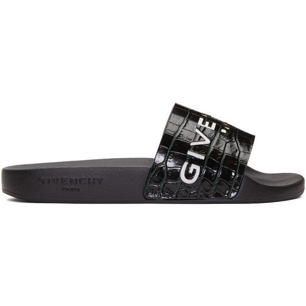 acbc20b06521 Givenchy Green Croc-Embossed Beach Slide Sandals ( 316) ❤ liked on Polyvore  featuring shoes