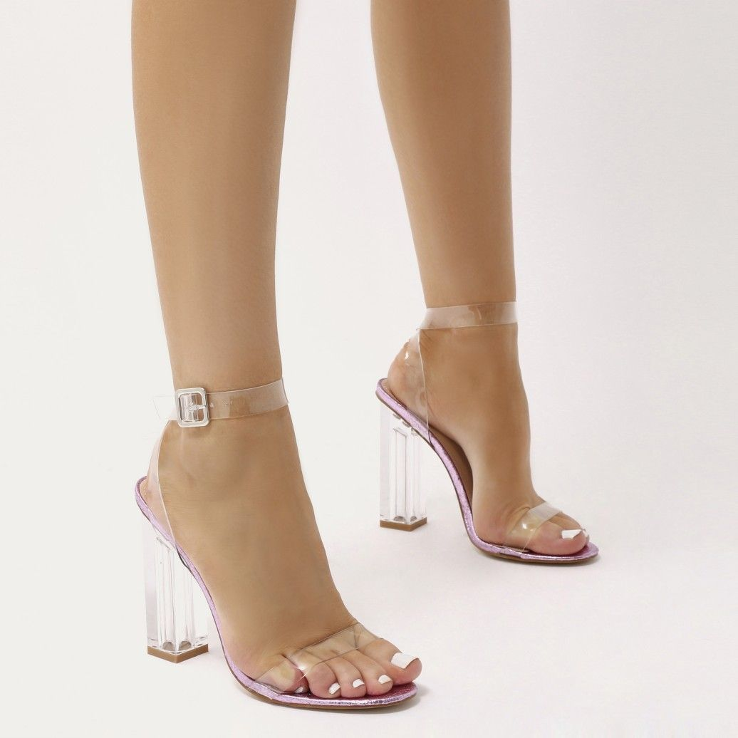 d8819a83fd60 Alia Strappy Perspex High Heels in Clear Black Patent