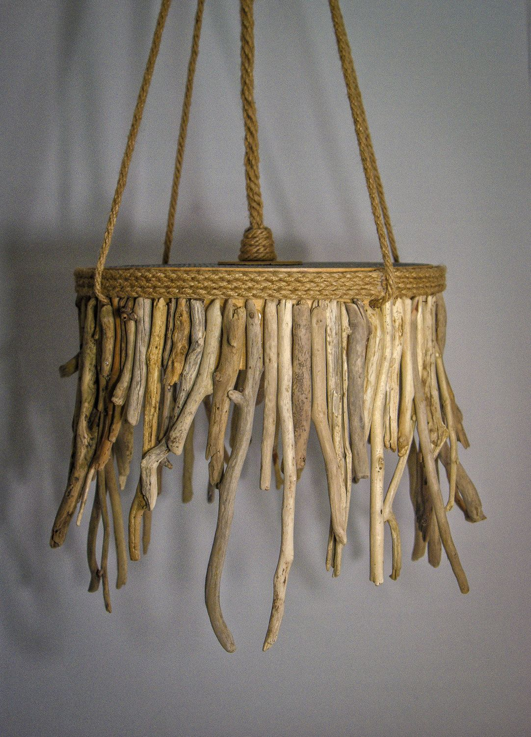 Driftwood Hanging Light Chandelier Coastal Chic Lamp Rope