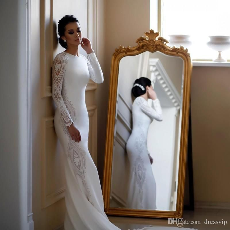 2019 Modest Mermaid Wedding Dresses Lace Appliqued Beaded Berta Sweep Train Boho Wedding Dress Bridal Gowns Plus Size Sleeves Abiti Da Sposa Elegant Wedding Dresses Inexpensive Wedding Dresses From Dressvip, $35.46| DHgate.Com #bertaweddingdress