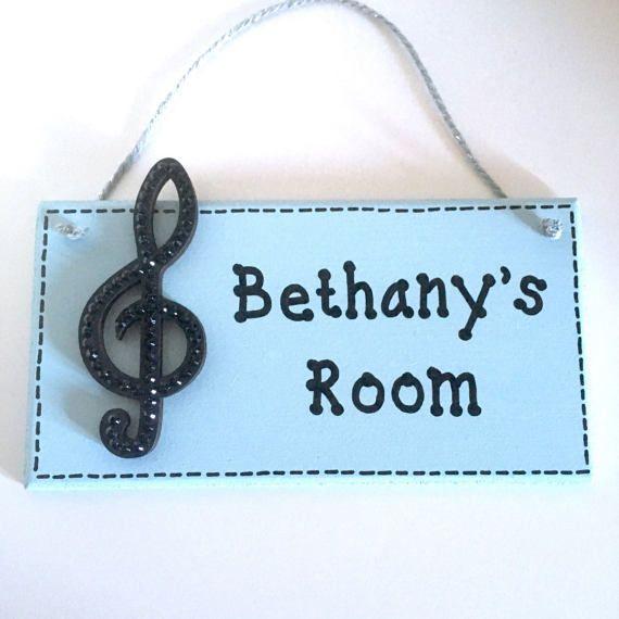 Music Themed Personalised Door Sign ~ Kids Door Sign ~ Bedroom