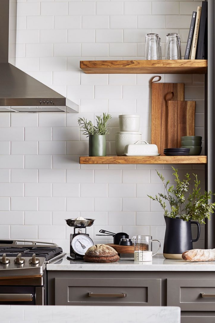 Farmhouse Rustic Kitchen With Modern Accents Acacia Cutting Boards Stoneware Vessels Vintage Scales Metal Measuring Cups And Gl Tumblers Not Only