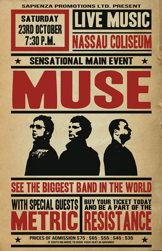 MUSE Tour Poster Concept in 2019 | Products | Muse tour, Muse band