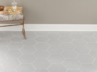 opal gray hexagon porcelain tile   white polished