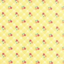30's Playtime Check Plaid Posie Picnic - Buttercup