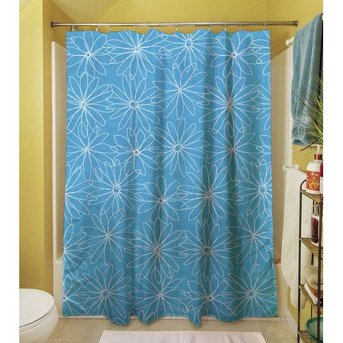 Funky Florals Daisy Sketch Polyester Shower Curtain No Liner
