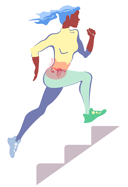 Running during menstruation themed editorial illustration for the Juoksija magazine by Pirita Tolvanen