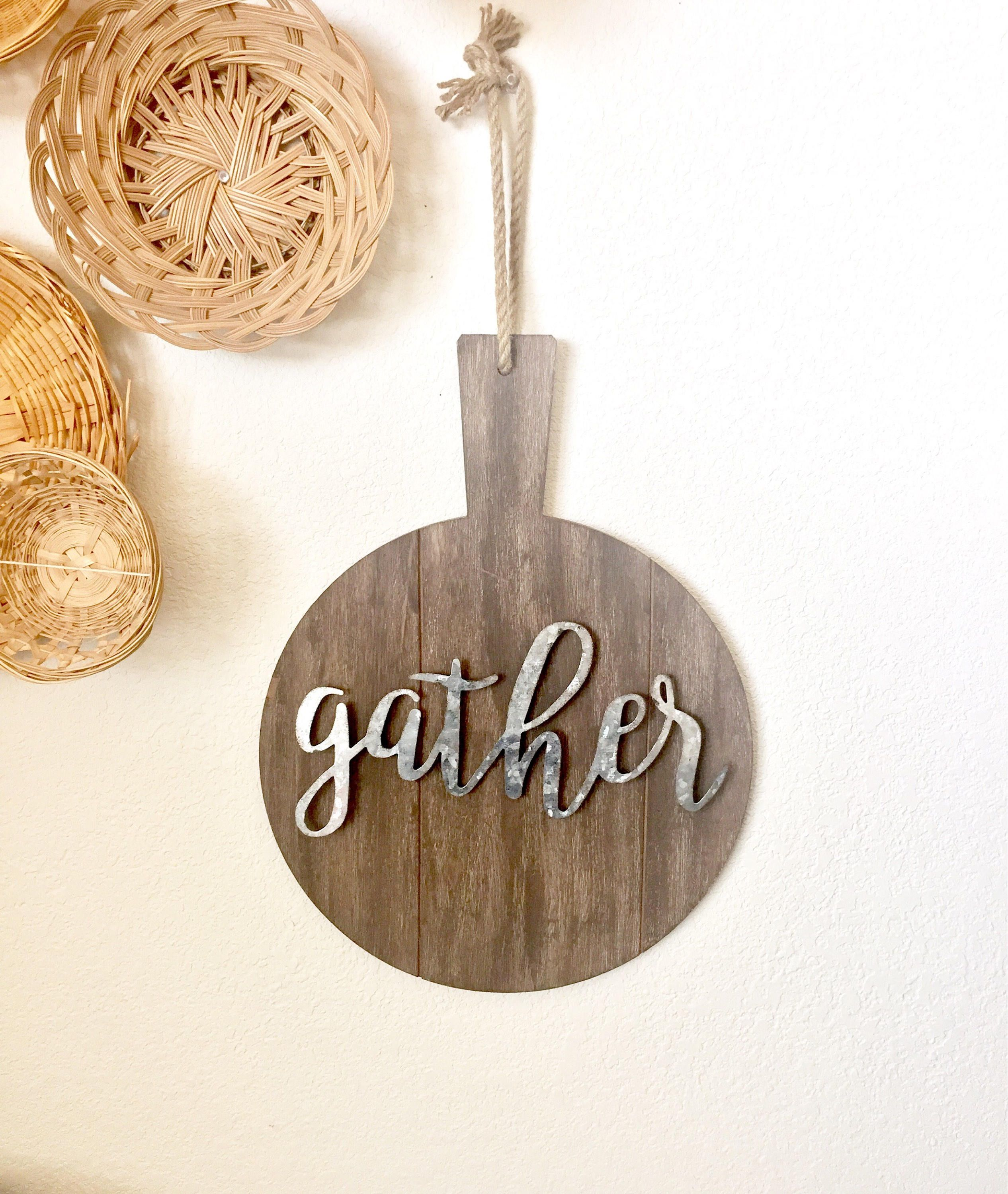 Wood Cutting Board with Gather Metal Sign, cursive gather metal sign on wood, kitchen metal galvanized sign, gather Metal Wall Hanging, Farm by MeenAndMoose on Etsy