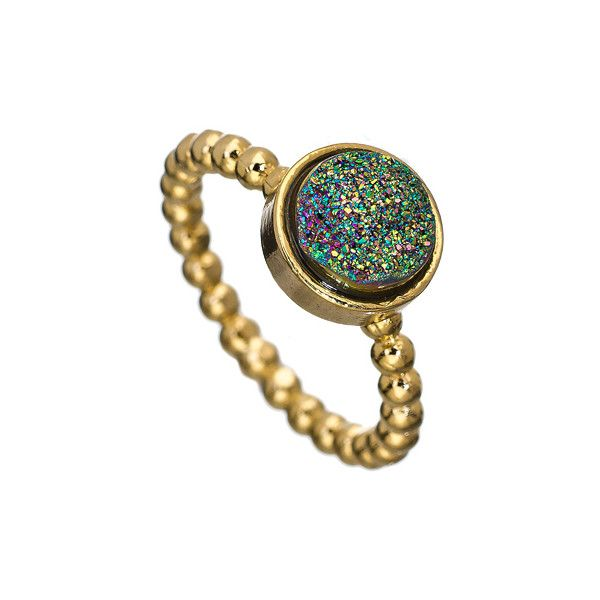 Dara Ettinger Gold Green Victoria Stackable Ring ($75) ❤ liked on Polyvore