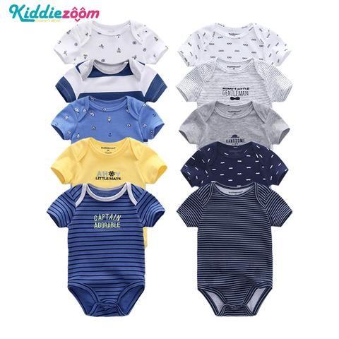 680f0ad69733 5PCS Set Newborn Baby Rompers Boy Playsuit Clothes 100% Soft Cotton ...