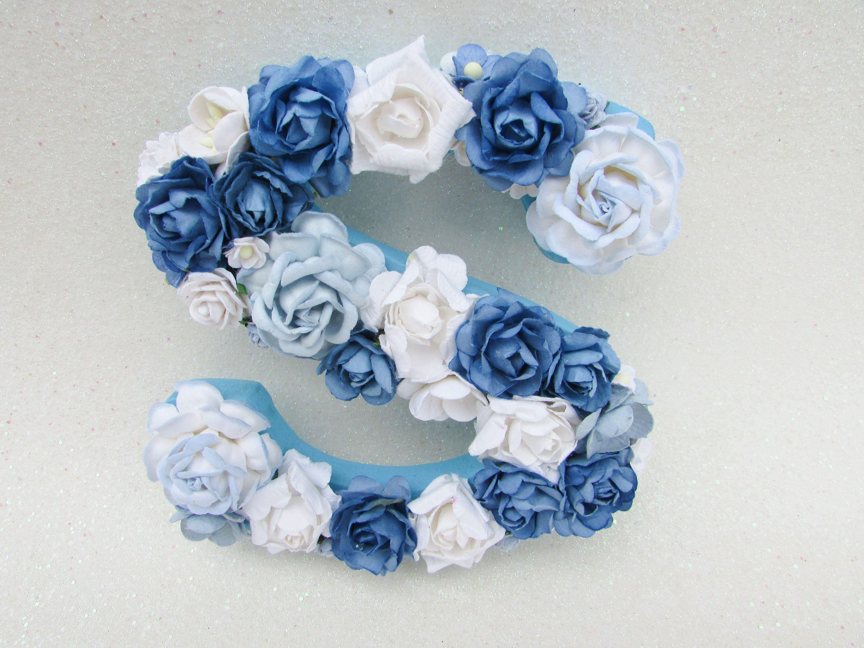 Flower letter floral letter s custom name letter nursery wall flower letter floral letter s custom name letter nursery wall letter blue izmirmasajfo