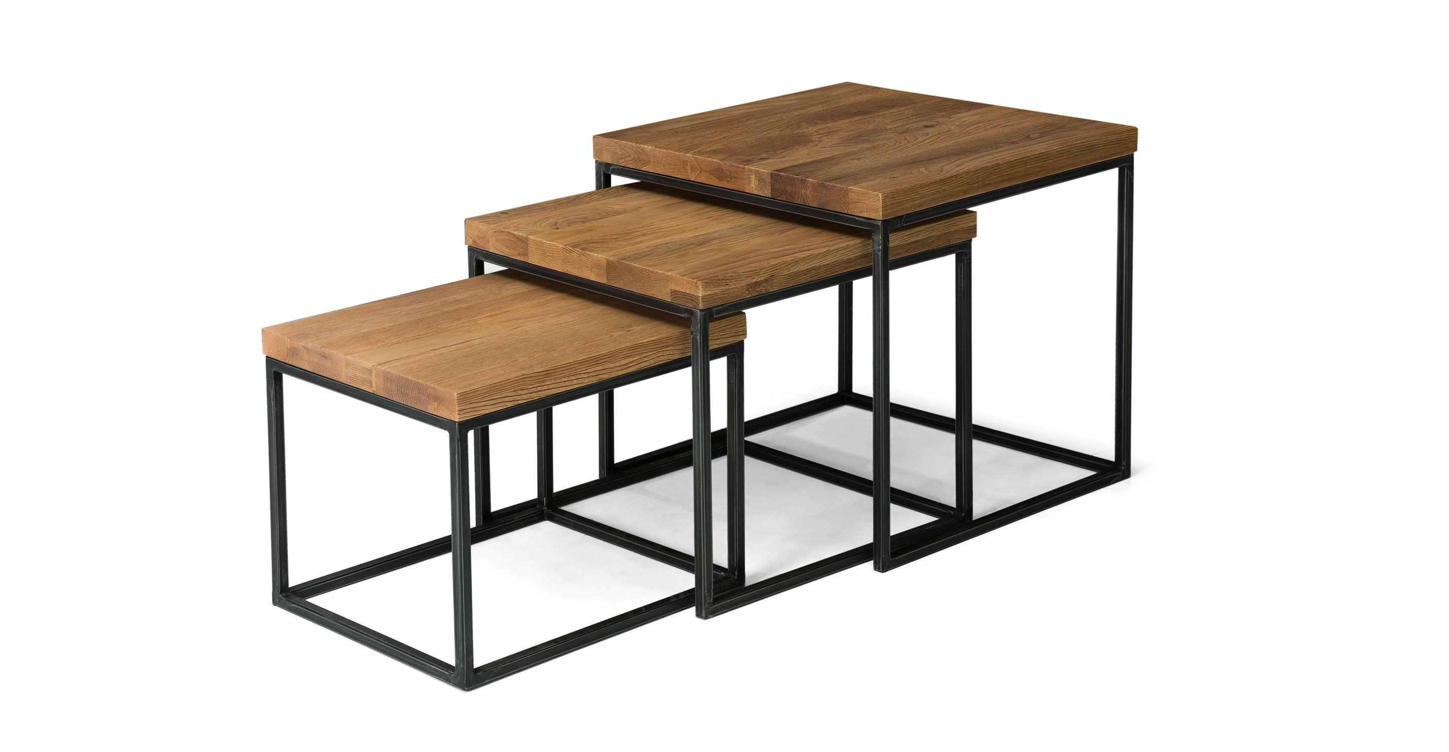 Vintage mitte jahrhundert wohnzimmer nesting tables in oak wood  metal legs  article taiga contemporary
