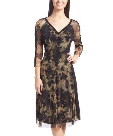 Another great find on #zulily! Black & Taupe Brushstroke Fit & Flare Dress #zulilyfinds