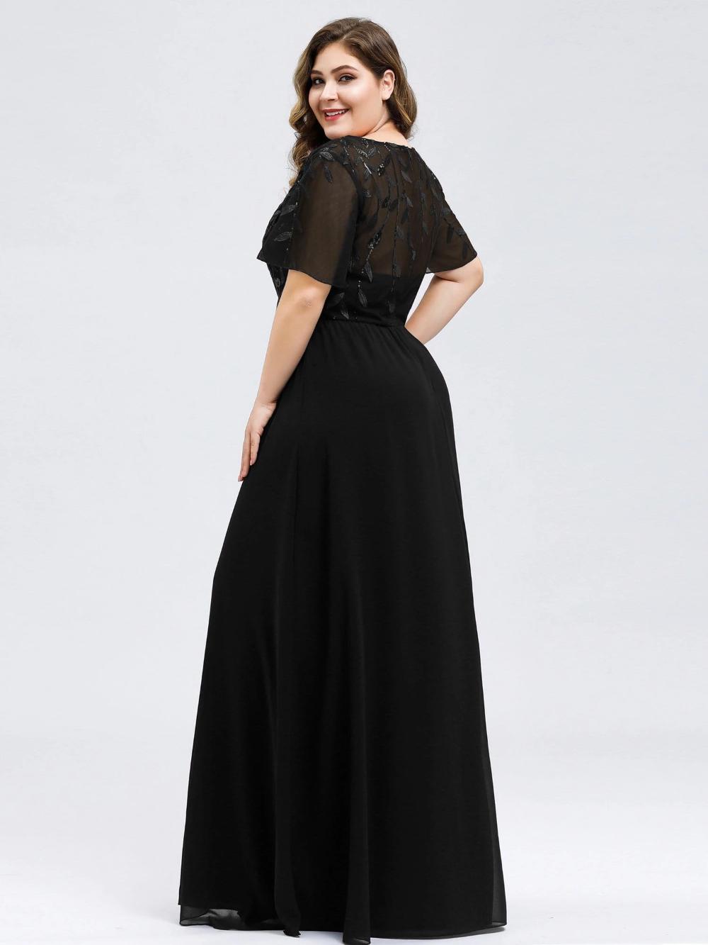 Plus Size Floral Sequin Print Evening Party Dresses with ...