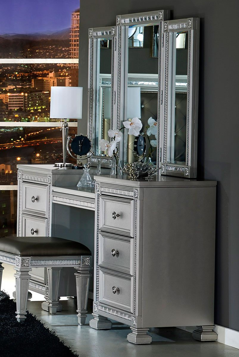 Homelegance Bevelle Vanity Dresser with Mirror - Silver in ...
