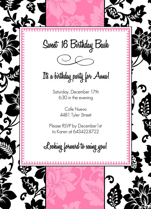 Black White And Pink Sweet 16 Birthday Party Invitation – Sixteen Birthday Invitations