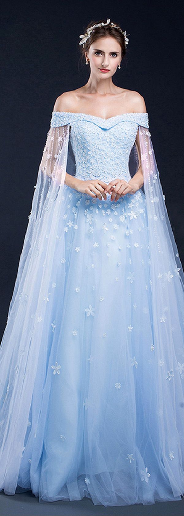 Marvelous tulle offtheshoulder neckline aline prom dresses with