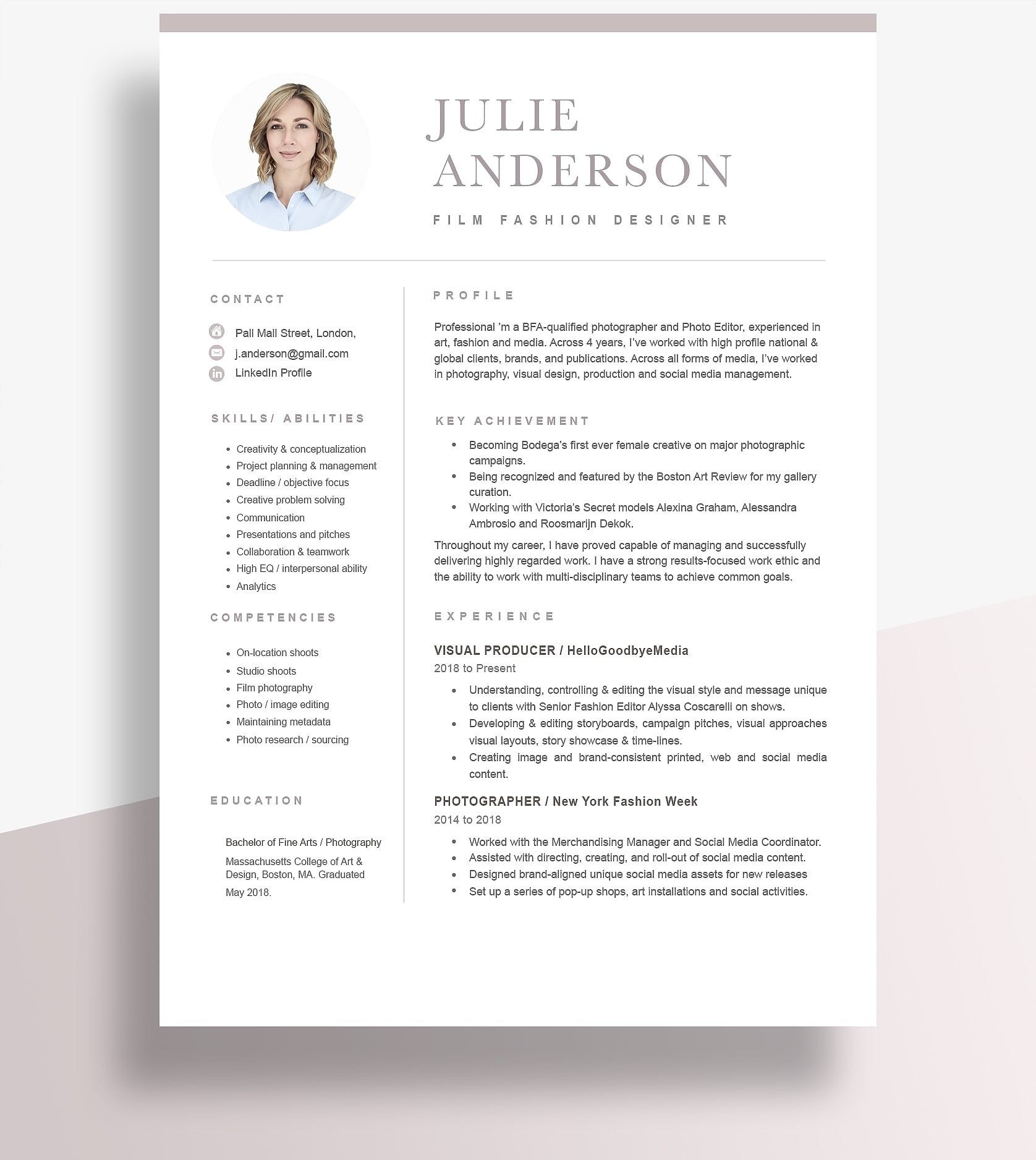 38++ Resume second page header examples ideas