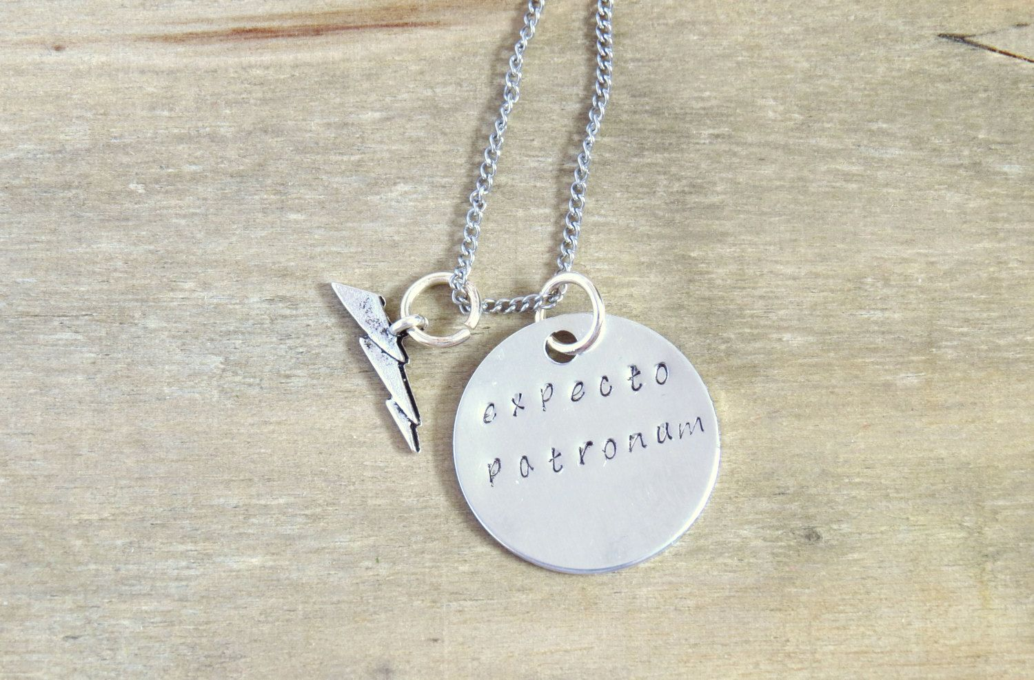 Harry Potter Inspired Necklace Expecto Patronum Spell Silver Lightning Bolt Charm Hand Metal Stamped Aluminium Disc Under 20 Dollars