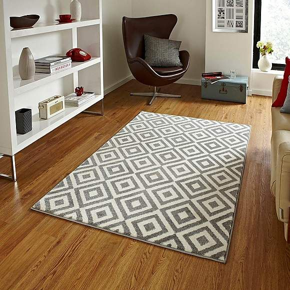 Grey Diamond Matrix Rug | Grey and white rug, Grey rugs ...