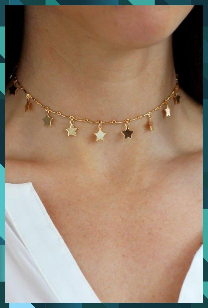 Star Dust Choker Necklace  Christine Elizabeth Jewelry