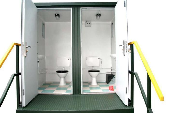 Shipping containers converted as portable toilets - Shipping container public bathroom ...