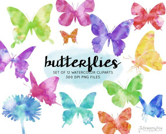 Butterfly watercolor. Clipart commercial use butterflies