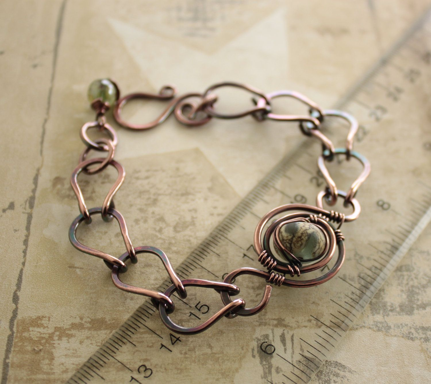 Lampwork copper bracelet with a handmade chain in adjustable length