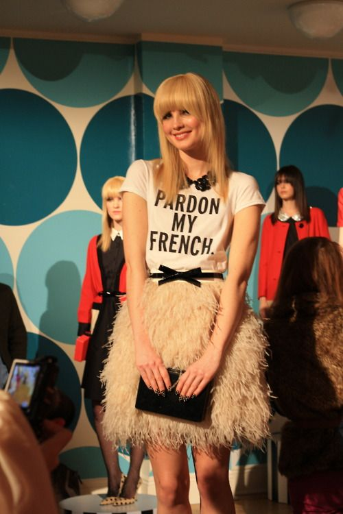 "love the ""Pardon My French"" kate spade shirt. too cute."