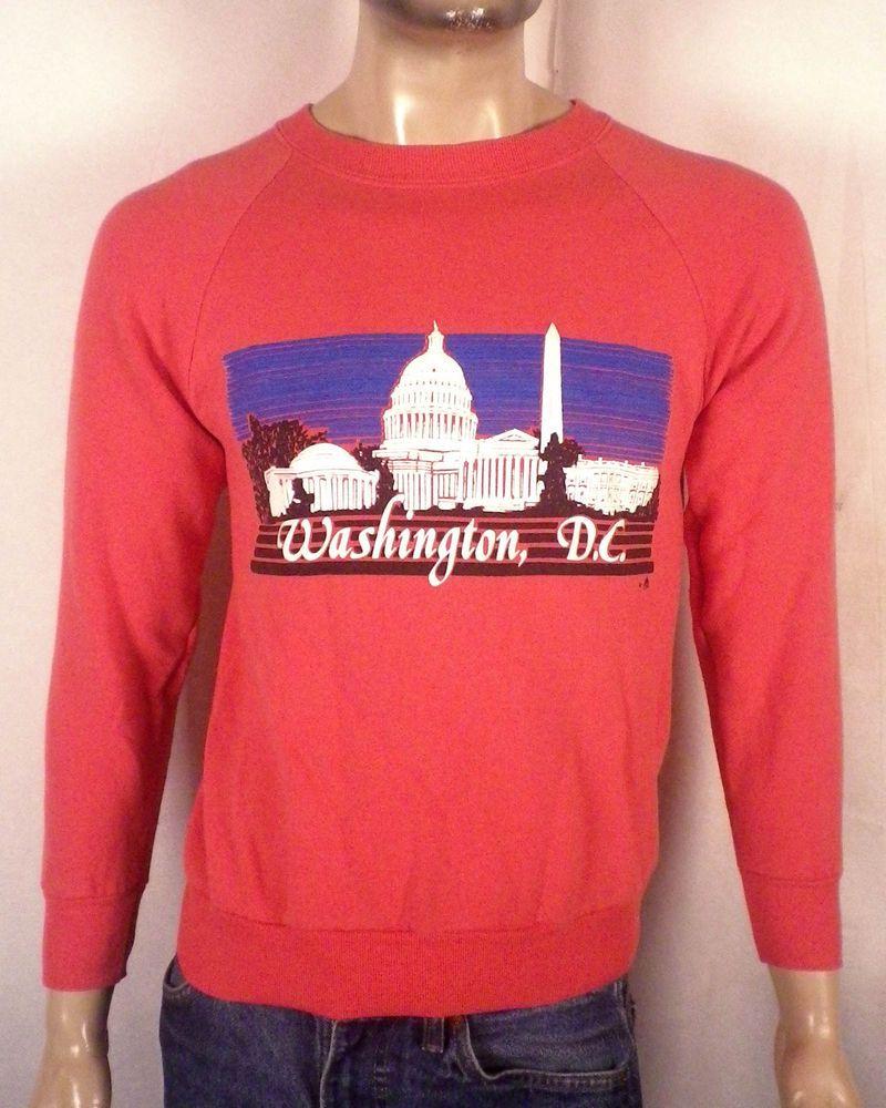vtg 80s Retro pink Puffy Logo Washington DC Sweatshirt raglan sleeve Indie  S M 271a5cb35