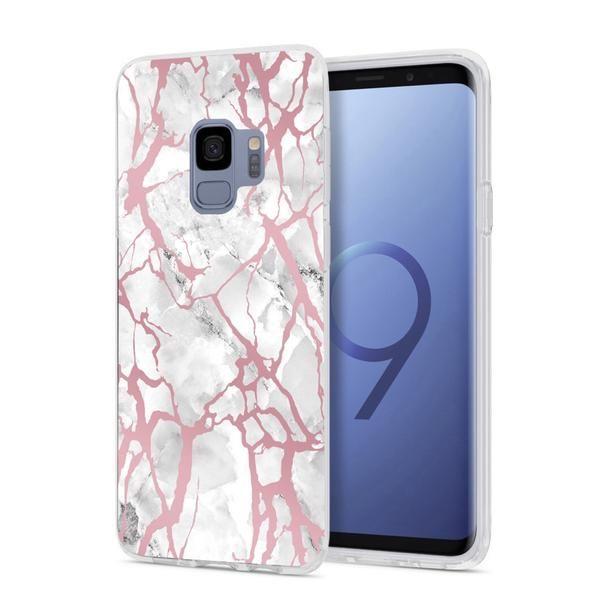 White Marble Rose Gold Pink Samsung Case In 2019 Samsung