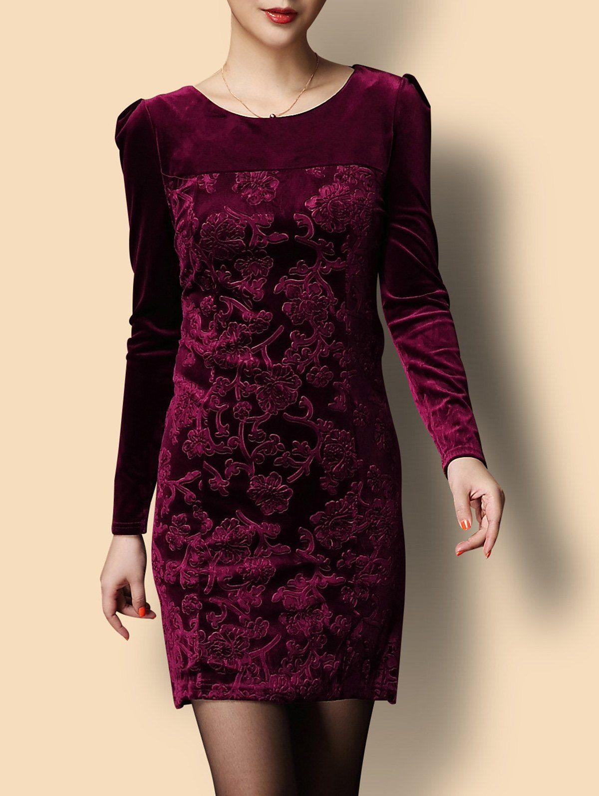 Short Jacquard Velvet Formal Dress With Sleeves Long Sleeve Velvet Dress Long Sleeve Dress Formal Dresses With Sleeves [ 1596 x 1200 Pixel ]