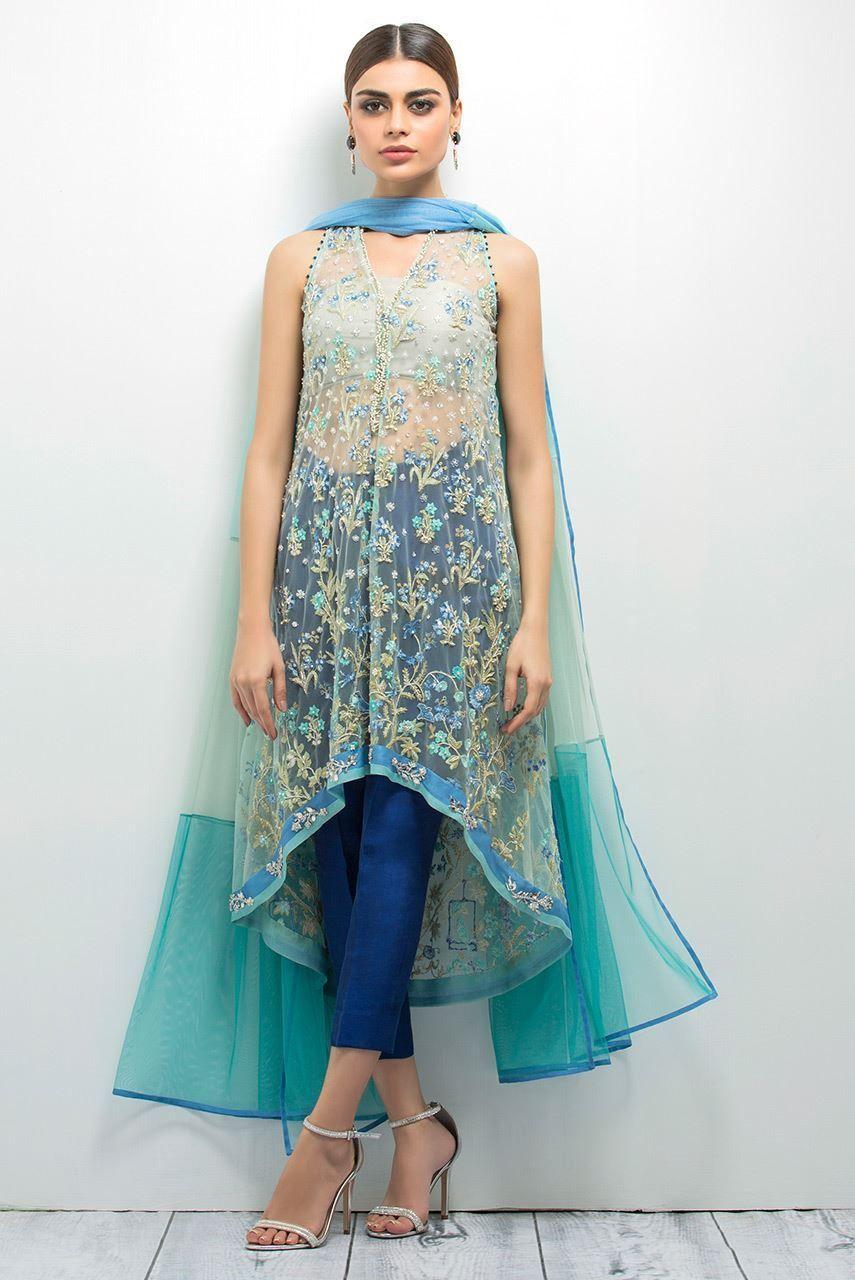 Indian net embroidered high low shirt | half saree lehenga ...