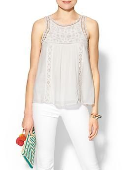 sleeveless lace contrast tank / piperlime