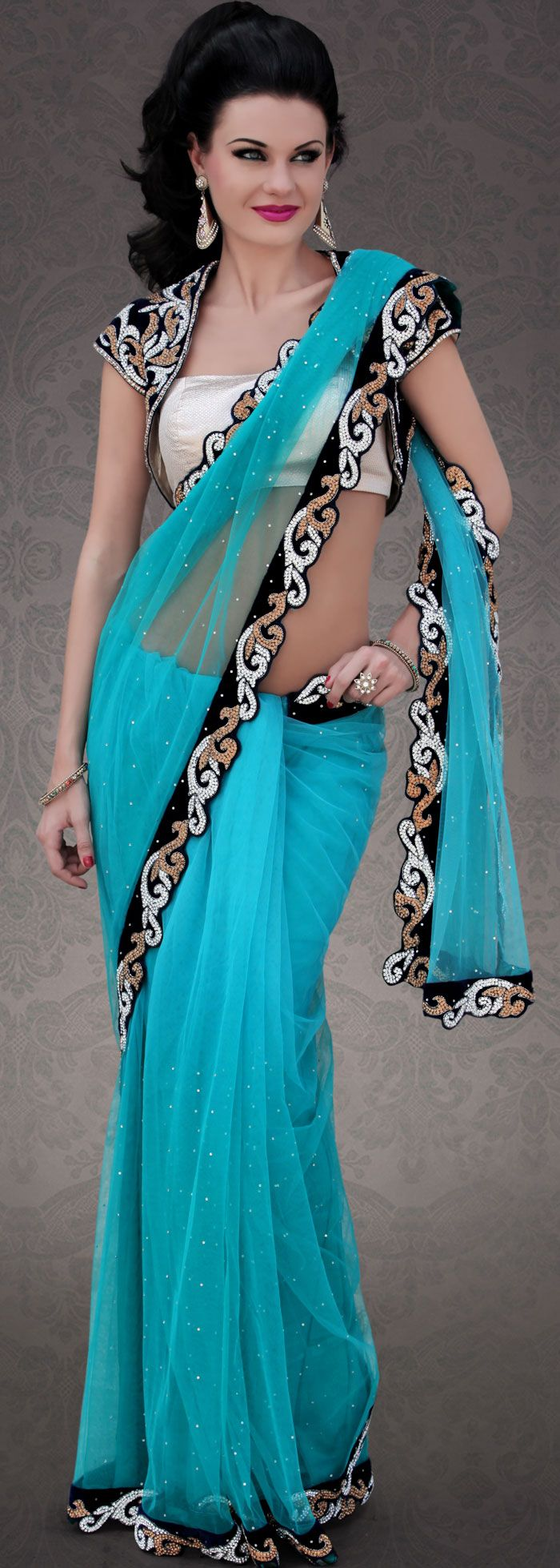 Latest Azure Blue Net #Saree #Design | @ $547.61 | Shop It Here ...