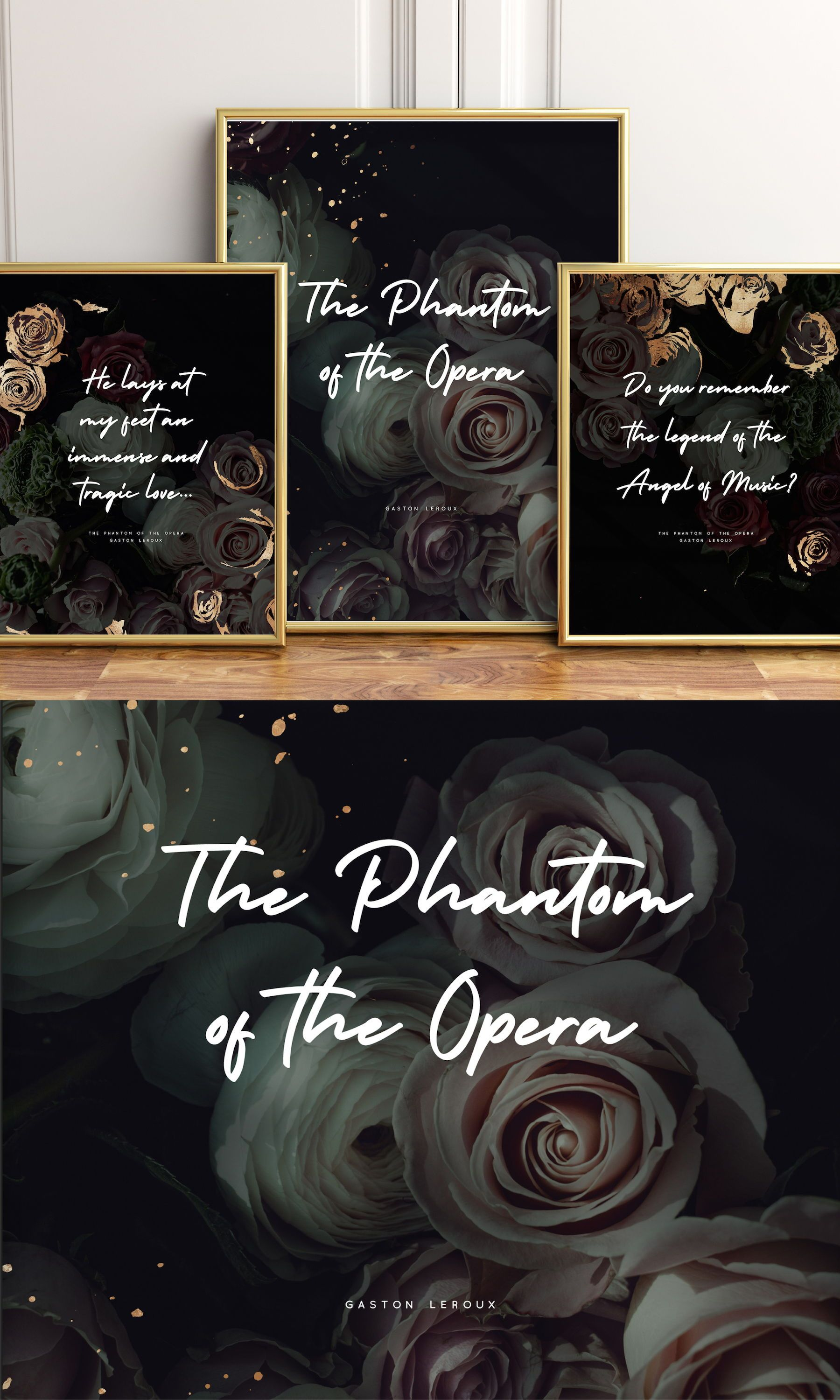 The Phantom Of The Opera Quotes Wall Art Set Of 3 This Poster Set Is A Must For All Lovers Of The Phantom Literary Posters Wall Art Quotes Literature Posters