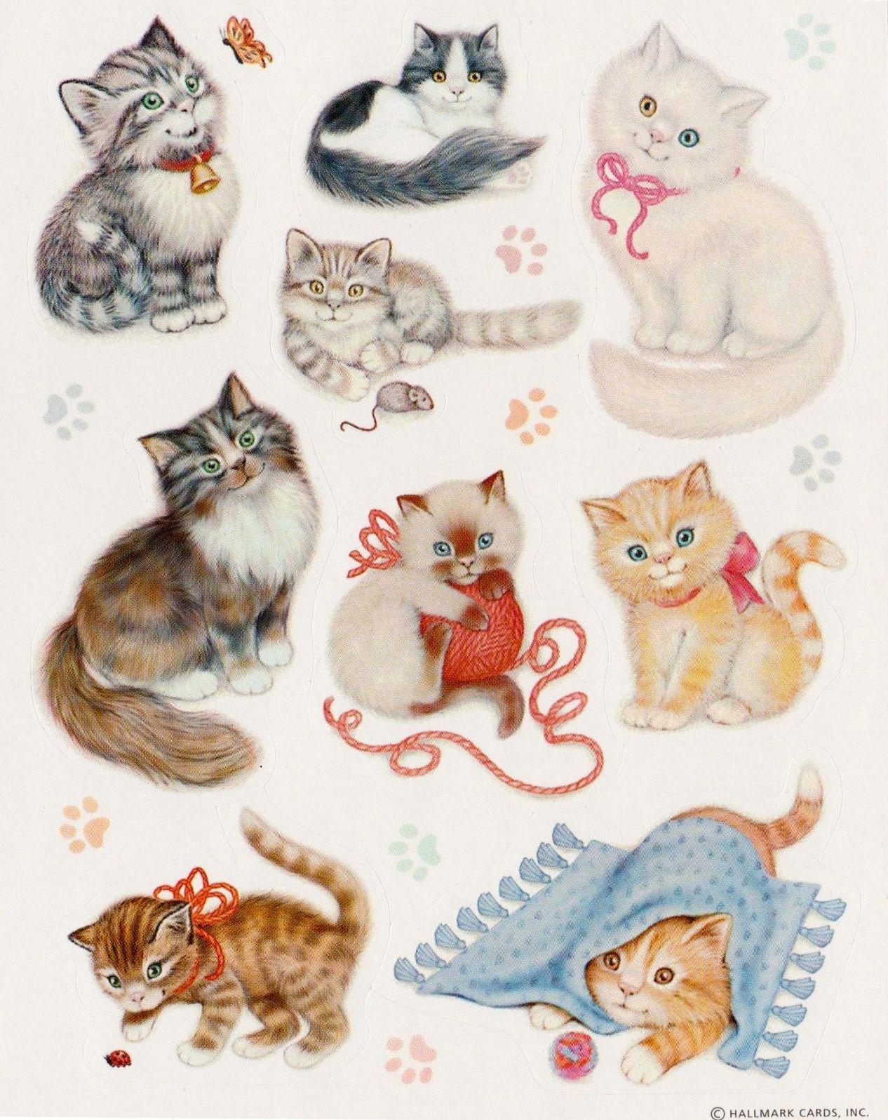 Hallmark Stickers Beautiful Cats Cat Stickers Kittens Vintage