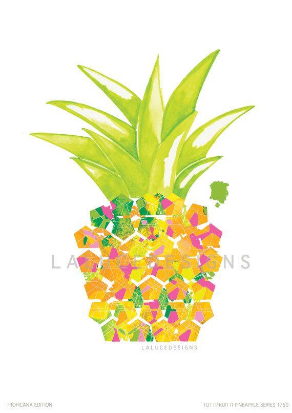 Tropical Pineapple Print (Multi Coloured) on Etsy, $9.99 AUD
