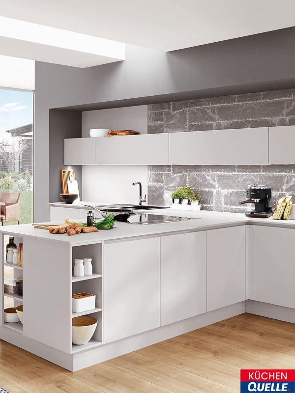 Die Norina 4406 Seidengrau Lack Grifflos zeigt sich in einem lichten - www küchen quelle de