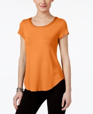 fab1aaf9 Petite Satin-Trim High-Low T-Shirt, Created for Macy's | Products ...