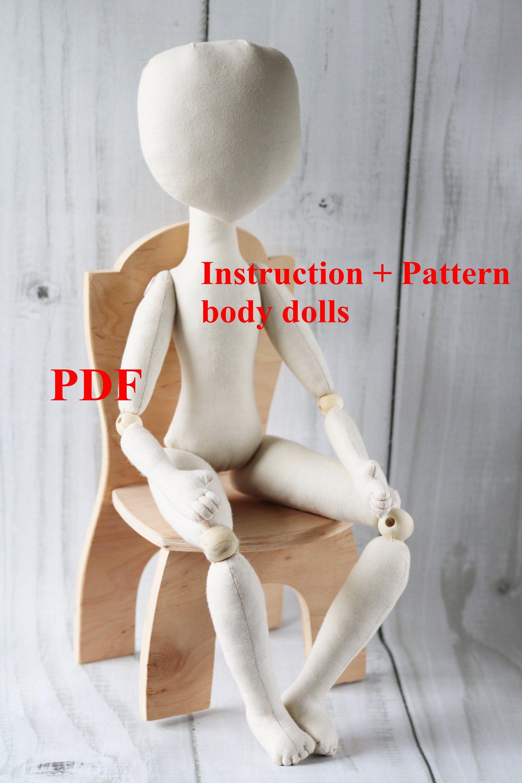 PDF tutorial Doll Body 18in/46cm Soft Doll PATTERN Cloth doll patterns Ragdoll pattern DIY Pattern doll body Textile doll Make a doll #dollmaking