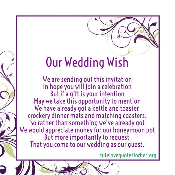Wedding Invitations Poems For Gifts Money
