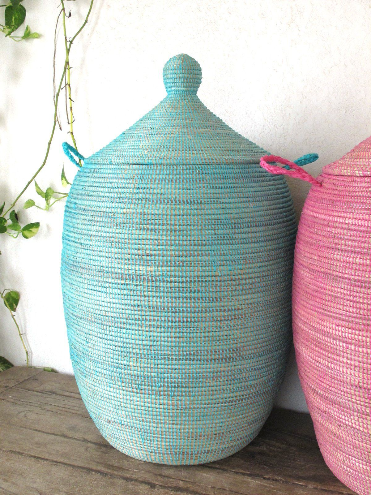 Laundry Basket Xl In Plain Turquoise Blue Hamper African