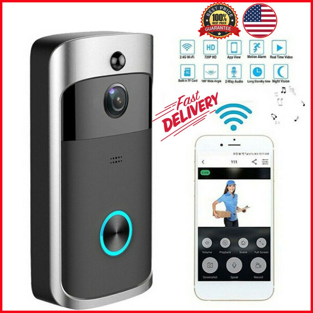 Details about Wireless WiFi Doorbell IR Visual HD Camera