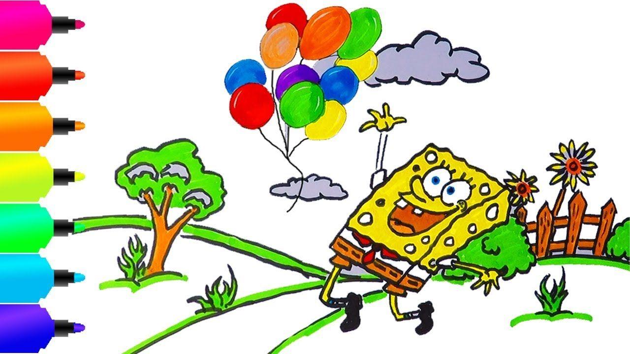 Cara Menggambar dan mewarnai Spongebob Melepas Balon ke Udara ...