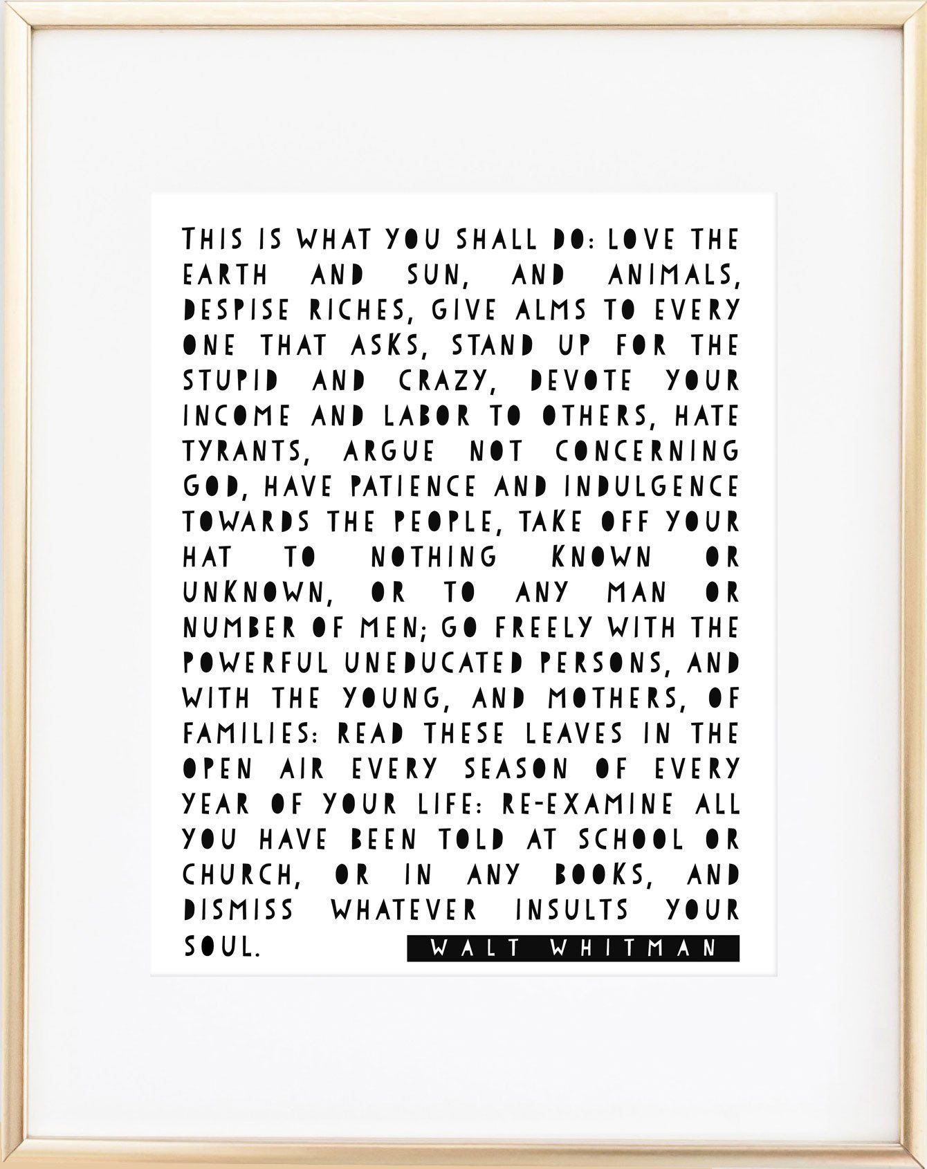 Walt Whitman Leaves Of Grass Print Daily Inspiration