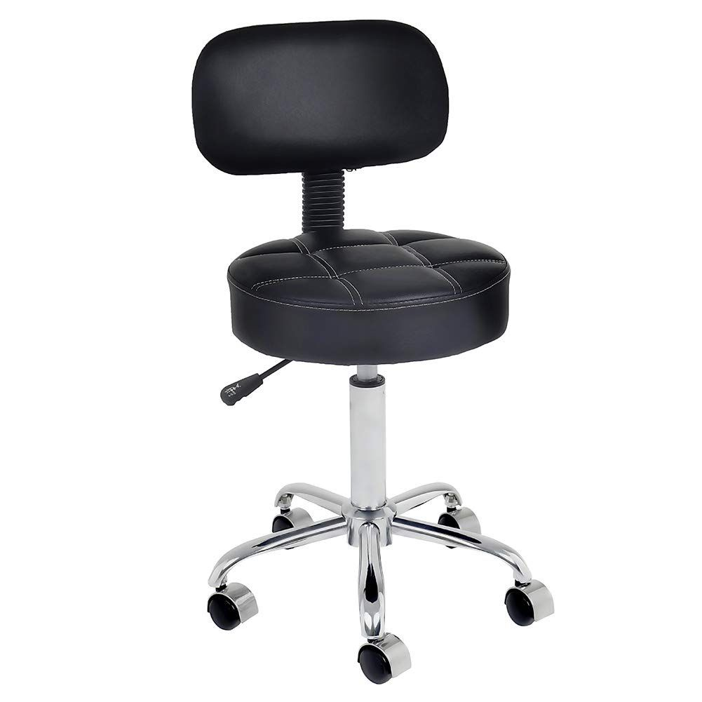 Well Cushioned Adjustable Rolling Stool With Back For Office Desk